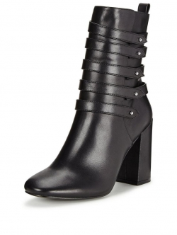 Strap Heeled   Leather Boot