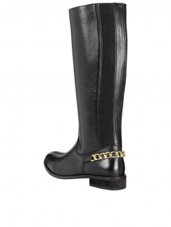 Hayley Leather Gold Chain Knee High Boots