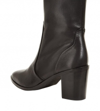 Very Clare Leather High Ankle Boot Black