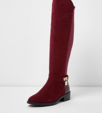 Flat Knee-high Padlock Boot